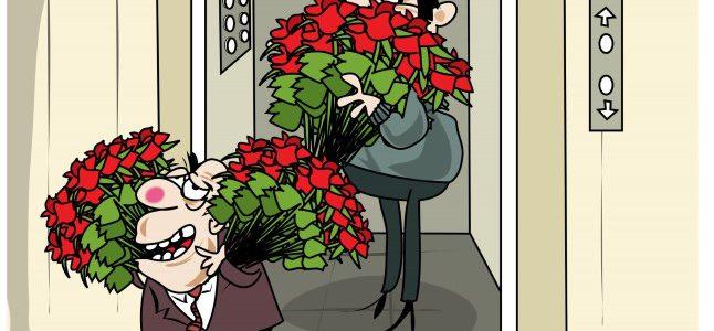 karikatuur - kaks meest suurte lillekimpudega