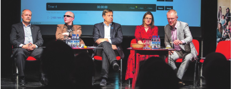 Vasakul: Henn Põlluaas, Juku-Kalle Raid, Margus Hanson, Liisa Pakosta, Hannes Hanso reedesel debatil. FOTO: Valmar Voolaid